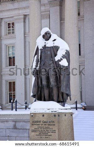 Albert Gallatin Statue After Snowstorm Winter US Treasury Department Washington DC