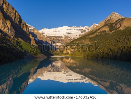 ALBERTA, CANADA - Lake Louise, a glacial lake in Banff National Park.  11 July 2012