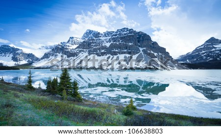 Alberta Landscape Canada Mountains and Icy River, Icefields Parkway, Alberta Canada