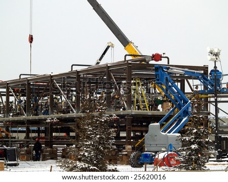 Alberta oil refinery component is assembled in Edmonton for delivery by heavy truck to Fort McMurray, AB. Canada Feb. 2009