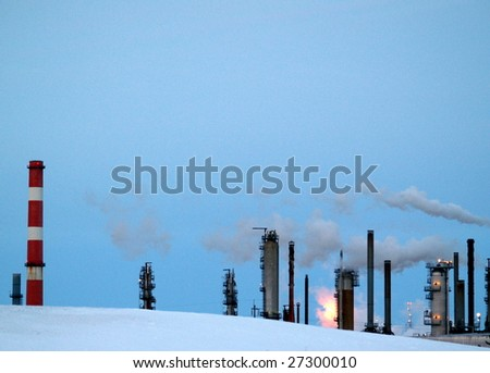 Alberta refinery at dusk in late winter (Edmonton, Alberta)