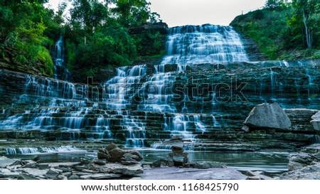 Albion Falls, Ontario Canada. Beautiful long exposure of the waterfall at dusk.