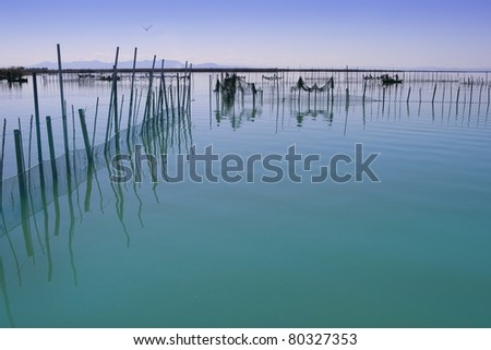 Albufera lake from Valencia Spain wetlands in mediterranean with fishermen tackle