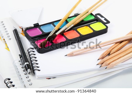 Albums for drawing with water colour paints and pencils - stock photo