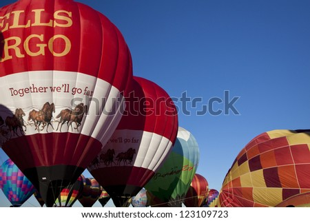ALBUQUERQUE, NEW MEXICO - OCTOBER 9: Balloonists get ready to fly over Albuquerque on October 9, 2010 in Albuquerque, New Mexico. Albuquerque balloon fiesta is the biggest balloon event in the the world.