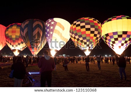 ALBUQUERQUE, NEW MEXICO - OCTOBER 9: Balloons glow during the morning glow event on October 9, 2010 in Albuquerque,New Mexico.Albuquerque balloon fiesta is the biggest balloon event in the the world.