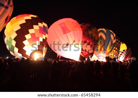 ALBUQUERQUE, NEW MEXICO - OCTOBER 9: Balloons glow during the morning glow event on October 9, 2010 in Albuquerque, New Mexico.Albuquerque balloon fiesta is the biggest balloon event in the the world.