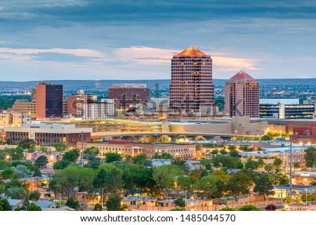 Albuquerque, New Mexico, USA downtown cityscape at twilight.