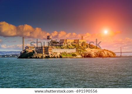 alcatraz island at sunset with...