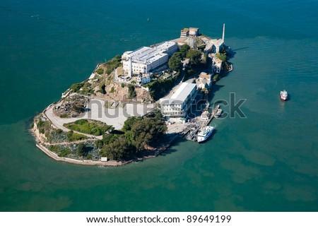 Alcatraz jail in San Francisco bay aerial view