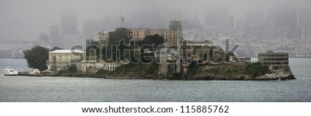 Alcatraz, panoramic view in foggy weather