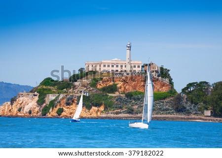 Alcatraz prison and yachts in San Francisco bay