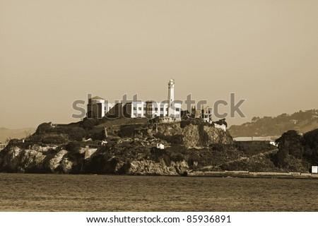 Alcatraz Prison, San Francisco,California in sepia.