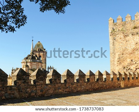 Alcazaba castle and Santa Maria church in Jerez de los Caballeros, a famous and monumental town of Badajoz province in Extremadura, Spain