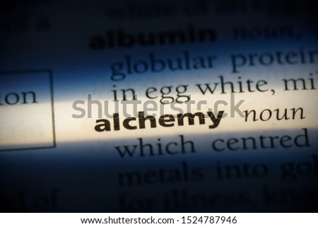 alchemy word in a dictionary. alchemy concept, definition.