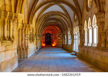 ALCOBACA, PORTUGAL, MAY 28, 2019: Cloister of Silence at Alcobaca monastery in Portugal ストックフォト ©