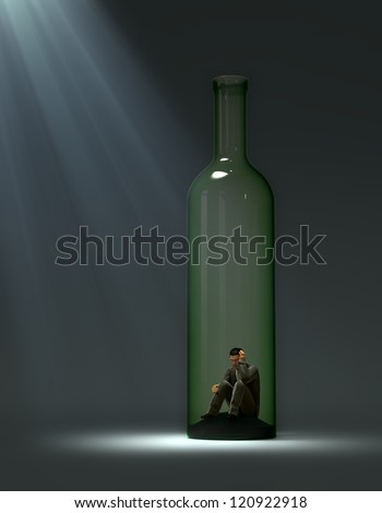 Alcohol addiction concept illustration - man inside a bottle