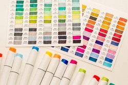 Alcohol based sketch drawing copic style markers and color swatches. Brush and chisel double ended for illustrators and graphic designers.