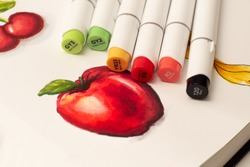 Alcohol based sketch drawing markers. Brush and chisel double ended for illustrators and graphic designers. Red apple sketch