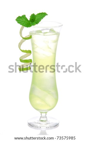 Alcohol cocktail based on Passion fruit, tequila, sprite, vodka, pina colada, light rum decorated with mint and lime spiral on top in mojito glass filled with ice