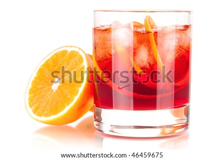 Alcohol cocktail collection - Negroni with orange. Isolated on white background