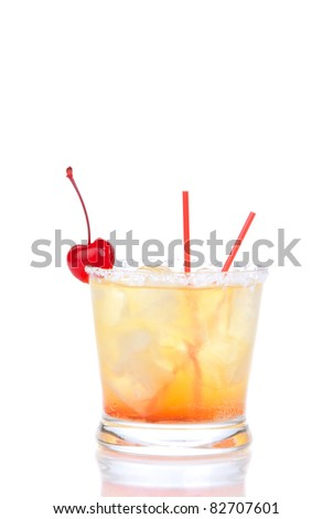 Alcohol cocktail long island iced teas with crushed ice, red cherry, straws, lime in small glass isolated on white background