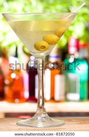 Alcohol cocktail martini with olives