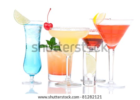Alcohol Cocktails. Many drinks beverages Blue hawaiian, mojito; tropical Martini, tequila sunrise, margarita, shot of vodka, cherry, mint, lime on white background