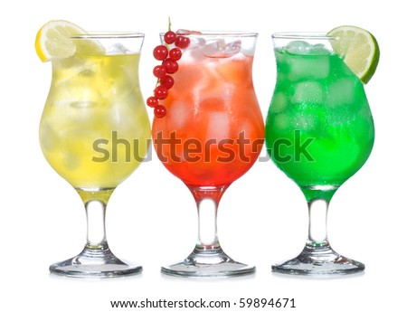 alcohol cocktails on white background
