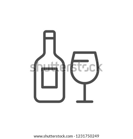 Alcohol drink line icon isolated on white