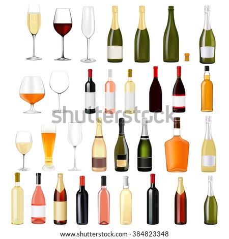 Alcohol drinks in bottles and glasses: whiskey, cognac, brandy, beer, champagne, wine.   illustration isolated on white background. Raster version #384823348