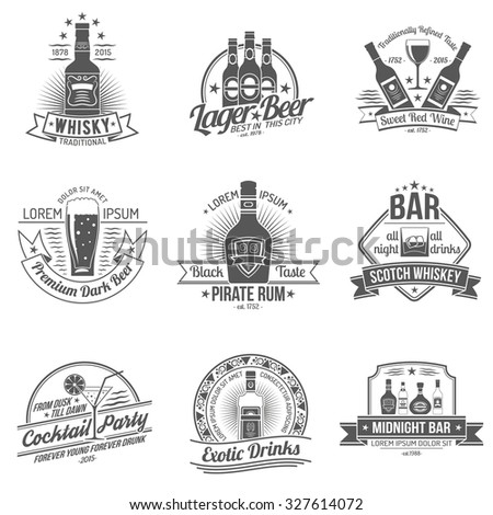 Alcohol drinks premium quality black label set isolated  illustration