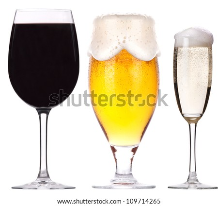 alcohol drinks set isolated on a white background
