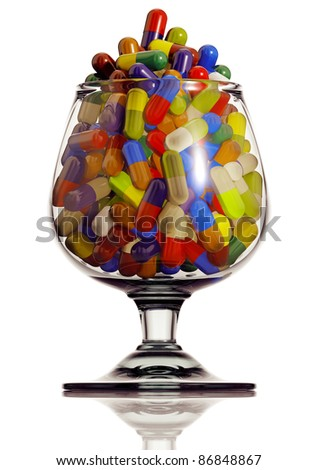 Alcohol glass with medical capsules isolated on white background, 3D.