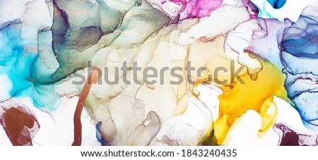 Alcohol Ink Art. Aquamarine and Emerald Pigment. Tidal bore Liquid. Contrast Ink Pigment. Aquamarine Divorce Aquarelle paint. Alcohol Ink Blots. Background for Cards.