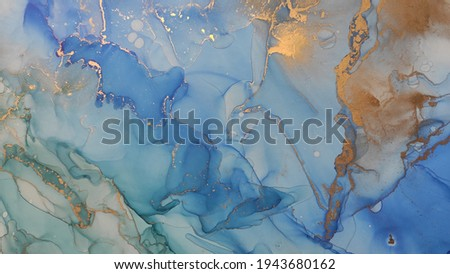 Alcohol Ink Art. Dark blue, White and Gold Streaks. Blue sky Smearing. Water Marble. Aquamarine Pigment Ink Blur. Alcohol Ink Drops. Alcohol Ink Texture.