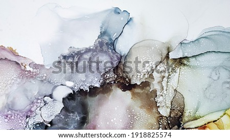Alcohol ink. Brown Watercolor Swirl. Yellow Marble Texture. Golden Liquid Texture. Organic Trendy Tint. Sophisticated Landscape. Grey Paper. Abstract Ethereal Fluid. White Alcohol ink. Photo stock ©