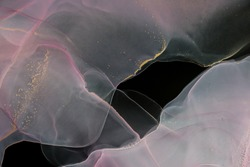 Alcohol ink colors pink on the blackbackground. Abstract pink marble texture background. Design wrapping paper, wallpaper. Mixing acrylic paints. Modern fluid art. Ethereal graphic design