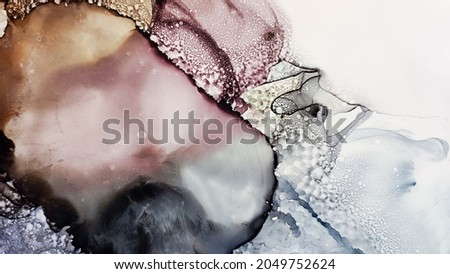 Alcohol ink. Vinous Liquid Artwork. Brown Marble Texture. Abstract Ethereal Paint. Sophisticated Background. Geodesy Water Flow. Grey Watercolor Fluid. White Pattern. Yellow Alcohol ink. Foto d'archivio ©