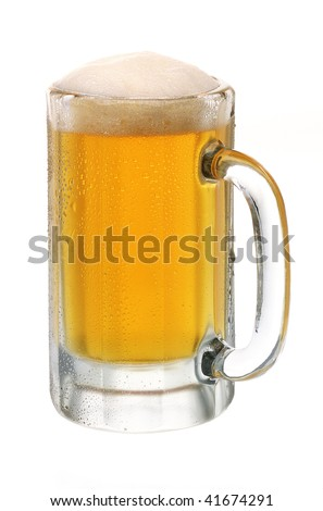 Alcohol light beer mug with froth and bubbles isolated over white background.