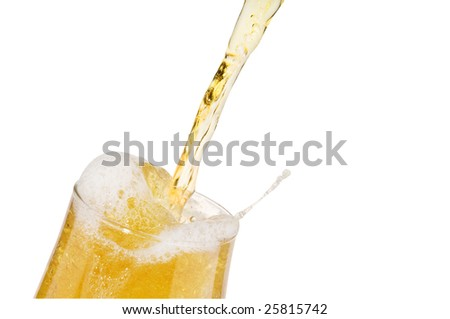 Alcohol light beer with froth and bubbles  pouring into a glass isolated over white.