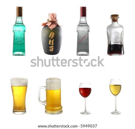 Alcohol mix isolated on white background