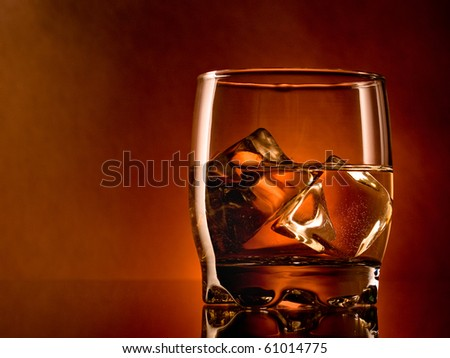 Alcohol on the rocks, one glass