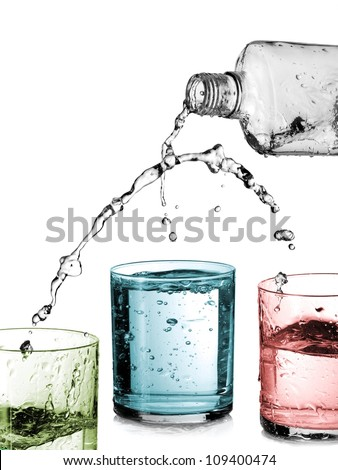Alcohol pouring in three glasses