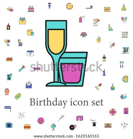 alcoholic beverages colored icon. birthday icons universal set for web and mobile