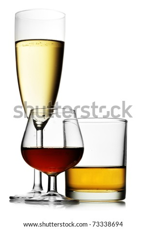 Alcoholic beverages isolated over white background