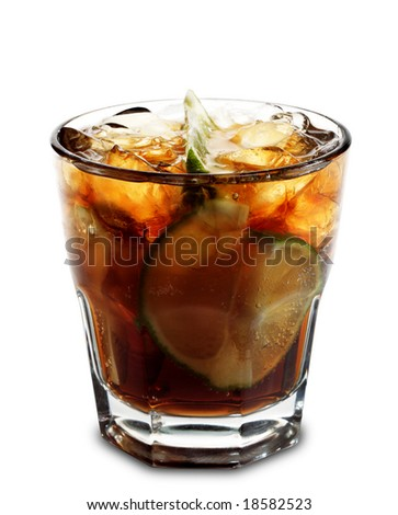 Alcoholic Cocktail - Cuba Libre made of Cola, Lime and Rum. Isolated on White Background - stock photo