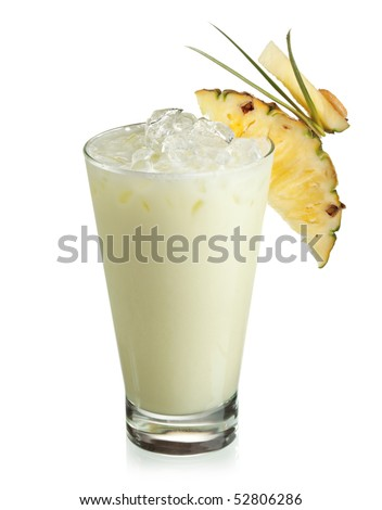 Alcoholic Cocktail - Midori with Rum, Colada, Pineapple and Cream
