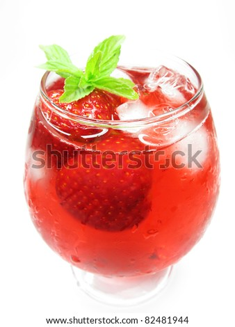 alcoholic cocktail punch cocktail with ice and strawberry