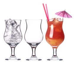 alcoholic cocktail set -cocktail,empty glass,glass with ice